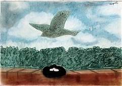 The Nest  Pastel Drawing on Paper  Rene Magritte