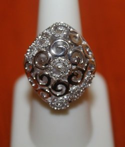 Beautiful 14kt over Silver Ring with Diamonds (120I)
