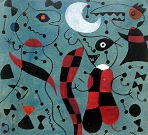 Personajes En El Parque - Oil on Paper - Joan Miro