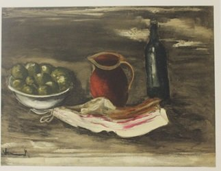 Still life with Bacon - Lithograph  - By Planche
