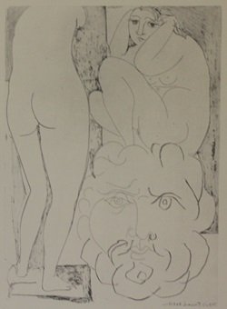 Nude Viewing two sculptures - Lithograph - by Picasso
