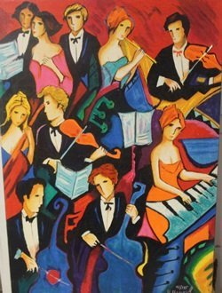 The Orchestra - Lithograph on canvas by Max, Phelp