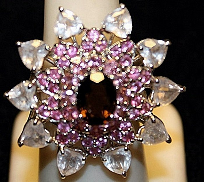 Beautiful Garnet, Pink Sapphires & White Topaz SS Ring.