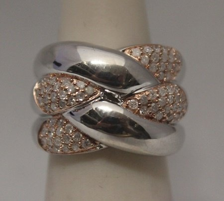 Dazzling 14kt Rose Gold over Silver Diamonds Ring