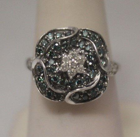 Lavish Blue & White Diamonds Silver Ring