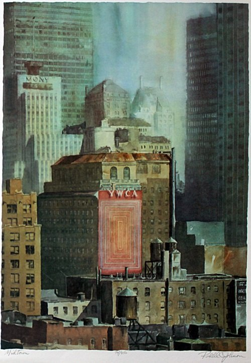 """Lithograph """"Midtown"""" after Rodell C. Johnson"""