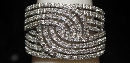 Very Fancy Silver Ring with Diamonds (182I)
