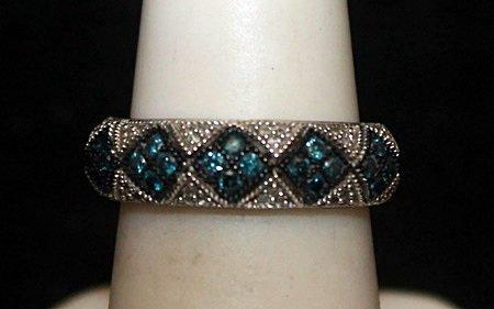 Fancy Silver Ring with Topaz & Diamonds (100I)