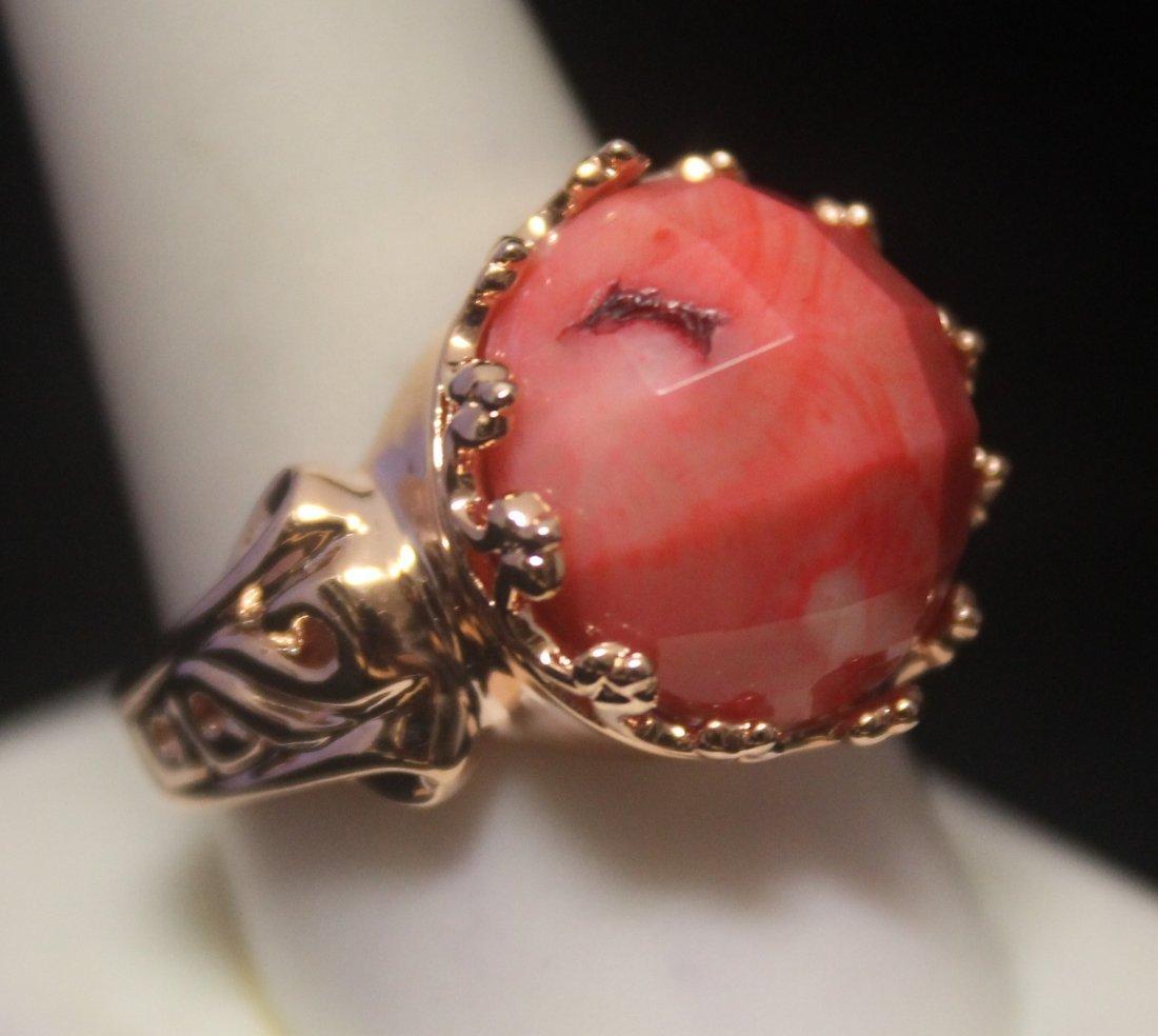 Elegant 14kt Rose Gold over Silver Coral Ring