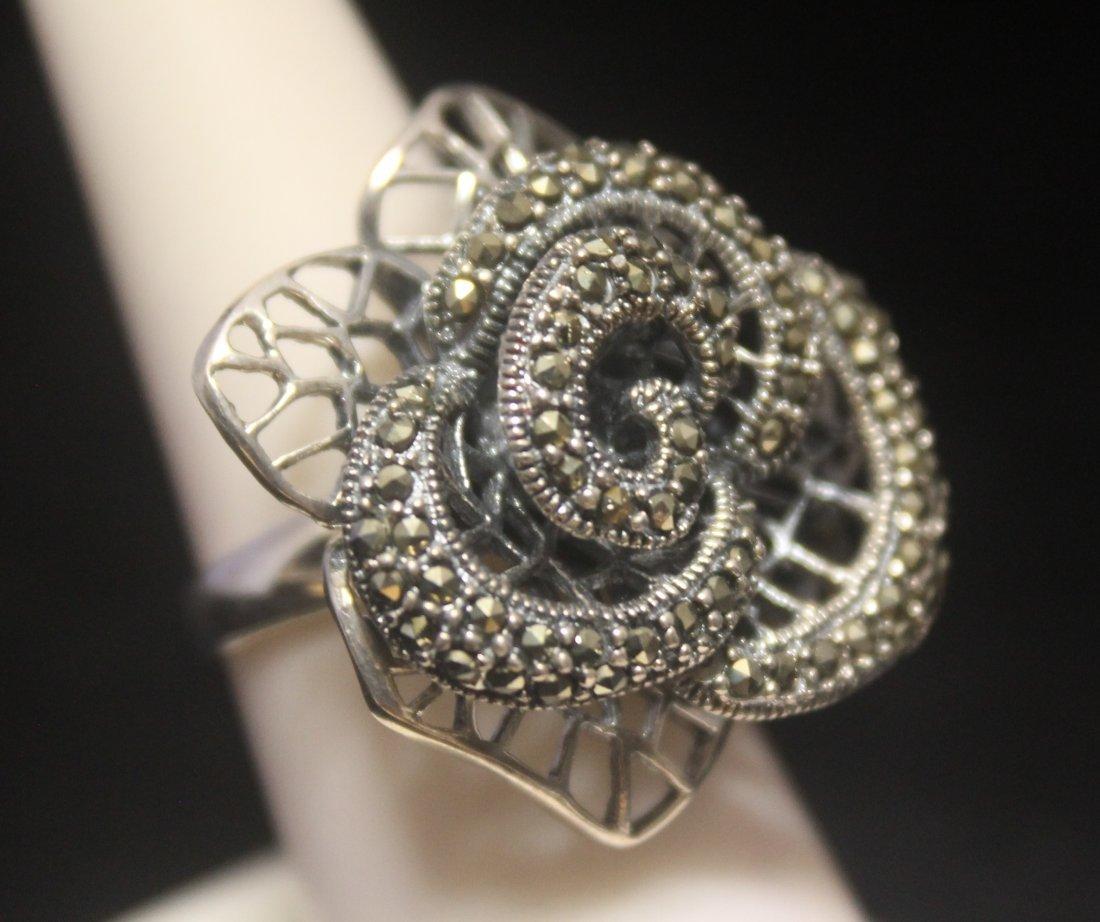 Fancy Flower Marcasite Designer Silver Ring