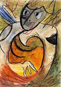 Woman IV-Pastel on paper by Willem De Kooning