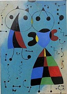 Child Flying Kite - Oil Painting on Paper - Joan Miro