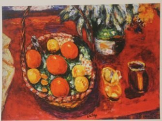 Basket of Fruit : Oranges & persimmons  - Lithograph -