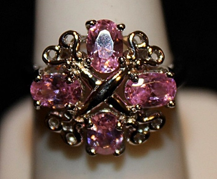 Fancy Pink Lab Sapphires & Black Diamonds SS Ring.