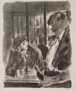 Drinks at the bar - Lithograph - Lamb