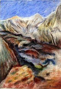 LandScape -Pastel Drawing on Paper - Pierre Bonnard
