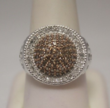 Fine Unisex Champagne & Canary Diamonds Silver Ring