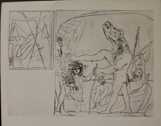 blind minotaur lithograph  - by Picasso