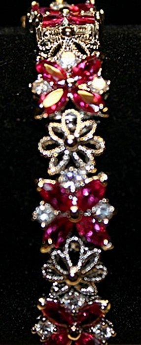 Fancy Lab Rubies & Sapphires Sterling Silver Bracelet.