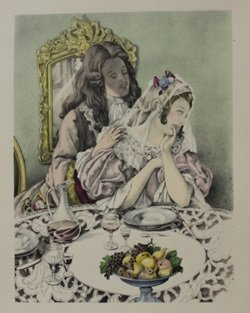 Dinning with the bride - Lithograph - by legrand