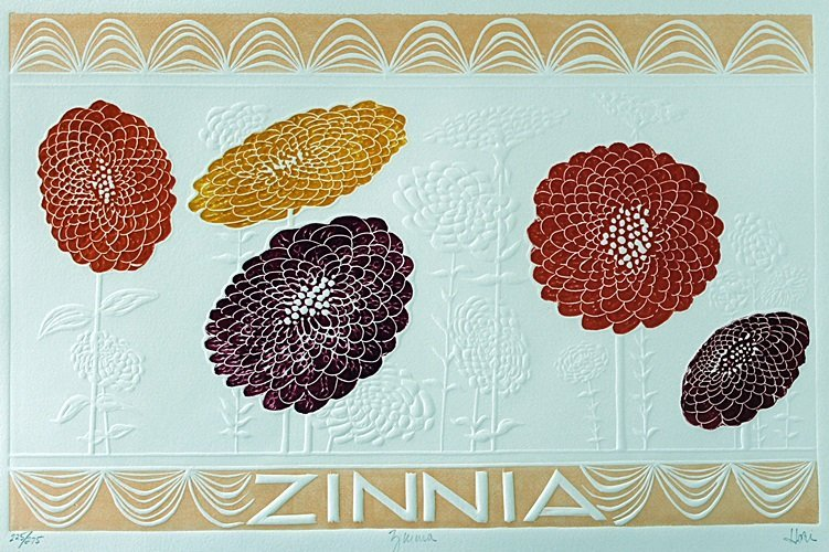 "Embossed Lithograph ""Zinnia"" after Hari Hockey"