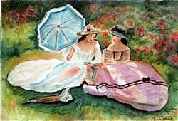 Two Woman Reading - Pastel on Paper - Claude Monet