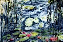 Waterlilies  Pastel Drawing on Paper  Claude Monet