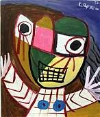 The Boy, 52' - Oil on Paper - Karel Appel