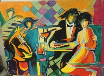 The Jazz club  - Lithograph on canvas - BY Max Phelp