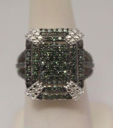 Elegant Green Diamonds Silver Ring