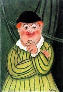 El Payaso - Pastel Drawing - Fernando Botero