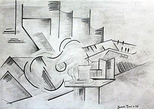 The Guitar - Drawing on Paper - Juan Gris