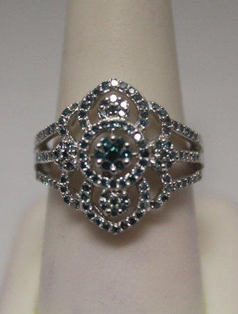 Exquisite Blue & White Diamonds Silver Ring