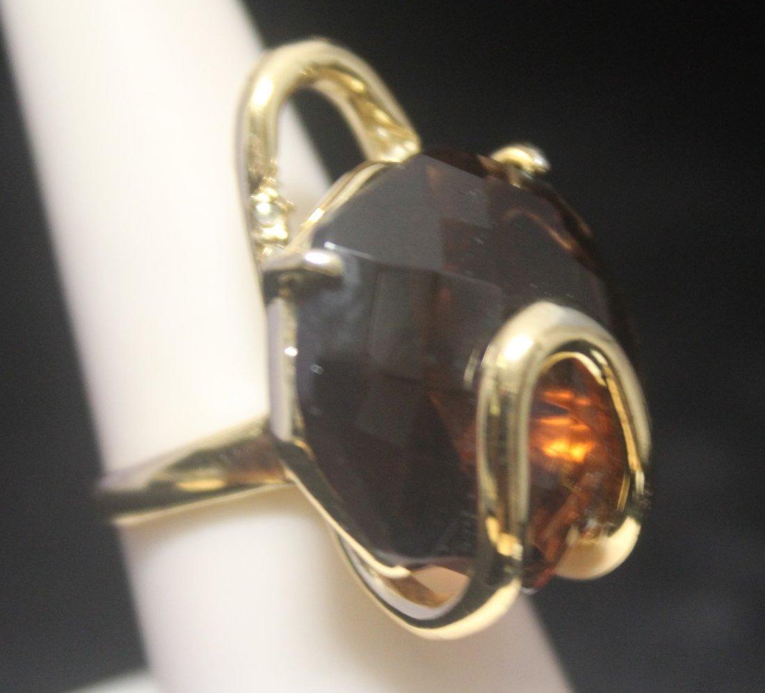 Lavish 14kt Gold over Silver Agate Ring