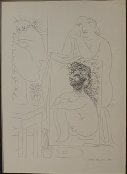 seated Nude with painting - Lithograph - by Picasso