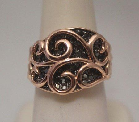 Fine 14kt Rose Gold over Silver Black Diamonds Ring