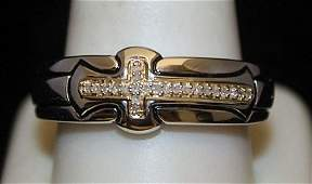 Unisex Silver Cross Ring with Diamonds (3I)