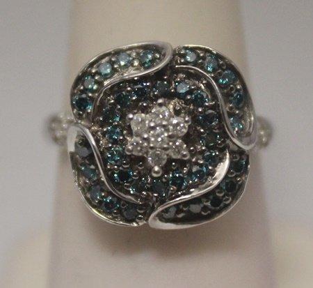 Gorgeous Blue & White Diamonds Silver Ring