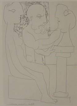 Sculptor Working from model - Lithograph by picasso