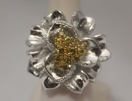 Exquisite Flower Yellow & White Diamonds Silver Ring
