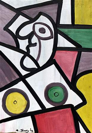 Woman Buste 1945' - Oil on Paper - Arshile Gorky