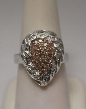 Lavish Pear Shape Champagne & White Diamonds Silver