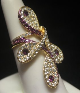 Beautiful 14kt Gold Over Silver Sapphire Designer Ring