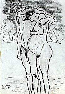 The Lovers - Drawing - Gustav Klimt