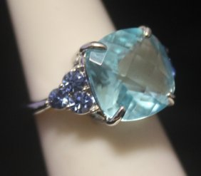 Stunning Royal Blue Topaz Silver Ring