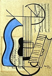 The Guitar Vii-collage On Paper By Juan Gris