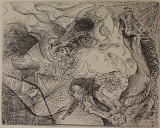 Bull hourse and women - Lithograph  - by picasso