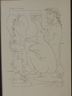 Sculptor with fish bowl - Lithograph - By Picasso