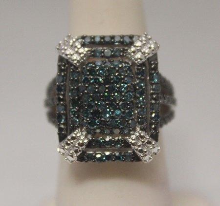 Fancy Blue Diamonds  Silver Ring