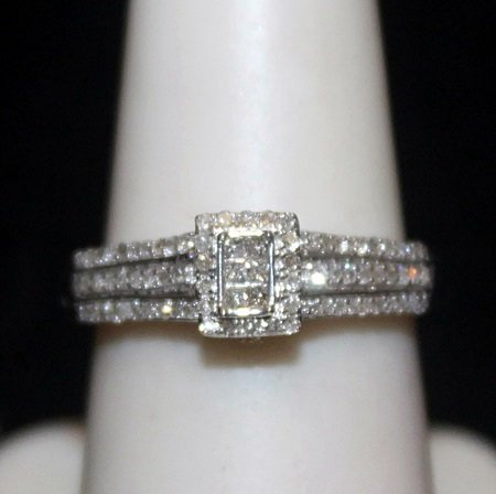 Lady's Fancy Silver Ring with Diamods (187I)